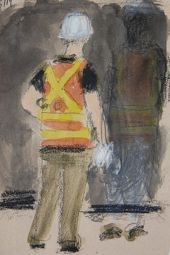 Transit Worker with Safety Vest and Hardhat
