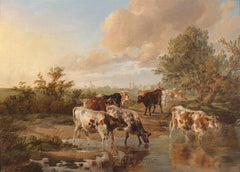 The Watering Place - Cattle Oil Painting
