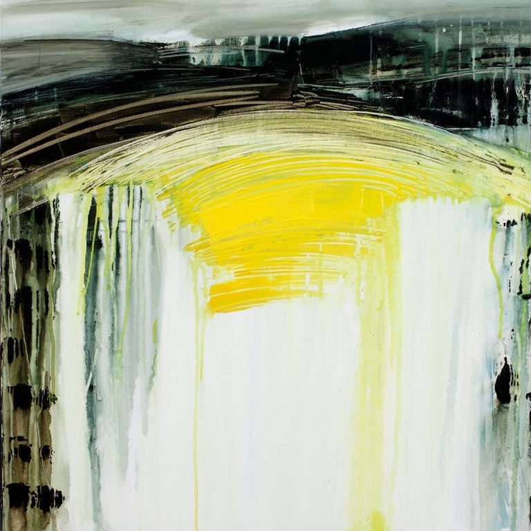 Gina Parr Abstract Painting - My Point of View, an abtract yellow, white and green landscape