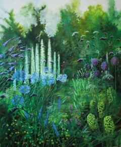 Dorset Garden X, flowers, realist painting for sale, oil on canvas
