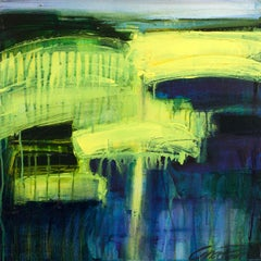 Ebb and Flow, Abstract , yellow and blue original painting