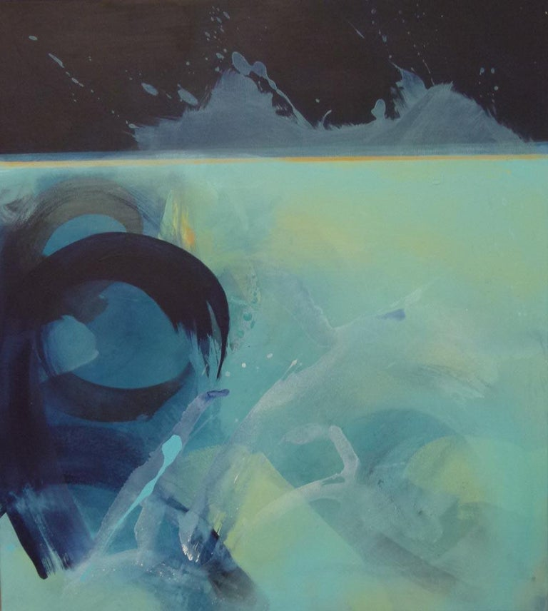 Claire Chandler Abstract Painting - Beneath the Surface, abstract painting in blue