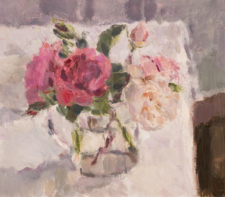 Lynne Cartlidge Still-Life Painting - Roses in a Glass Jug 1, still life painting, original art, pink rose painting