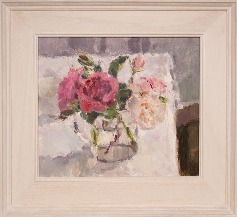 Roses in a Glass Jug 1, still life painting, original art, pink rose painting  - Painting by Lynne Cartlidge