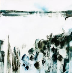 Beneath, black and white abstract seascape original oil painting