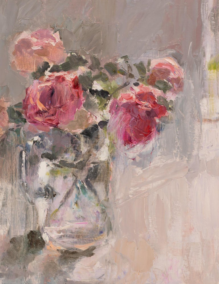 Lynne Cartlidge Still-Life Painting - Roses in a glass jug 2, an original still life oil painting