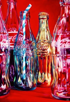 Coke and Stripey Straw, still life pop art red screen print, coca cola art