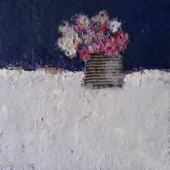 Vintage Indigo, flower painting ,mixed media still life contemporary painting
