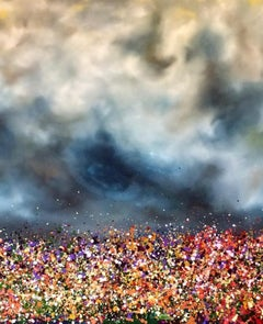 Immerse yourself, abstract contemporary painting of flowers and skyscape