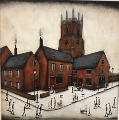 In the Market Place, Sean Durkin, Deddington, Architectural art, Lowry style art