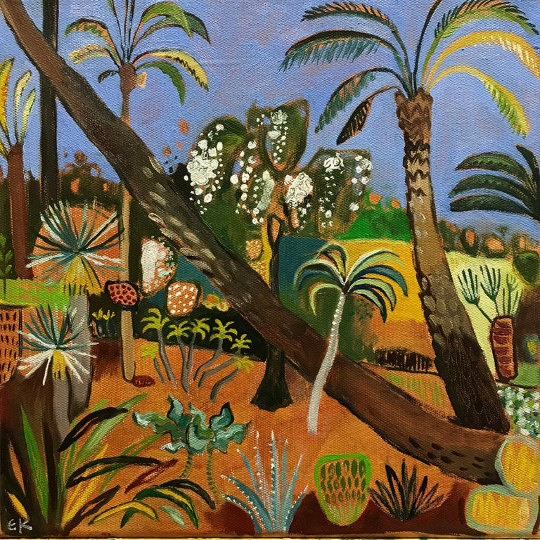 A small version of a larger work. The scene is the Marjorelle Gardens in Marrakech, Morocco. The delightful gardens were created for Yves Saint-Laurent.