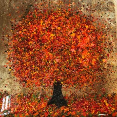 A Happy Autumn, Nicky Chubb, Affordable art, Nature art,Trees, Orange