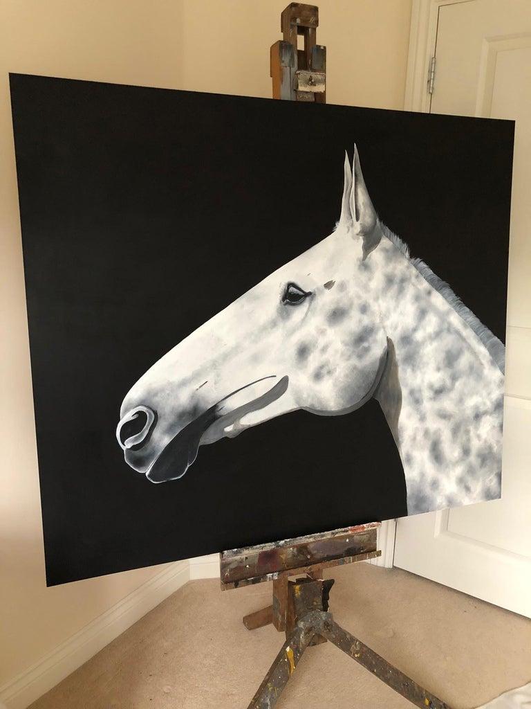 Dapple, Zoe Louise, Animal Art, Horse, Affordable art - Black Animal Painting by Zoe Louise