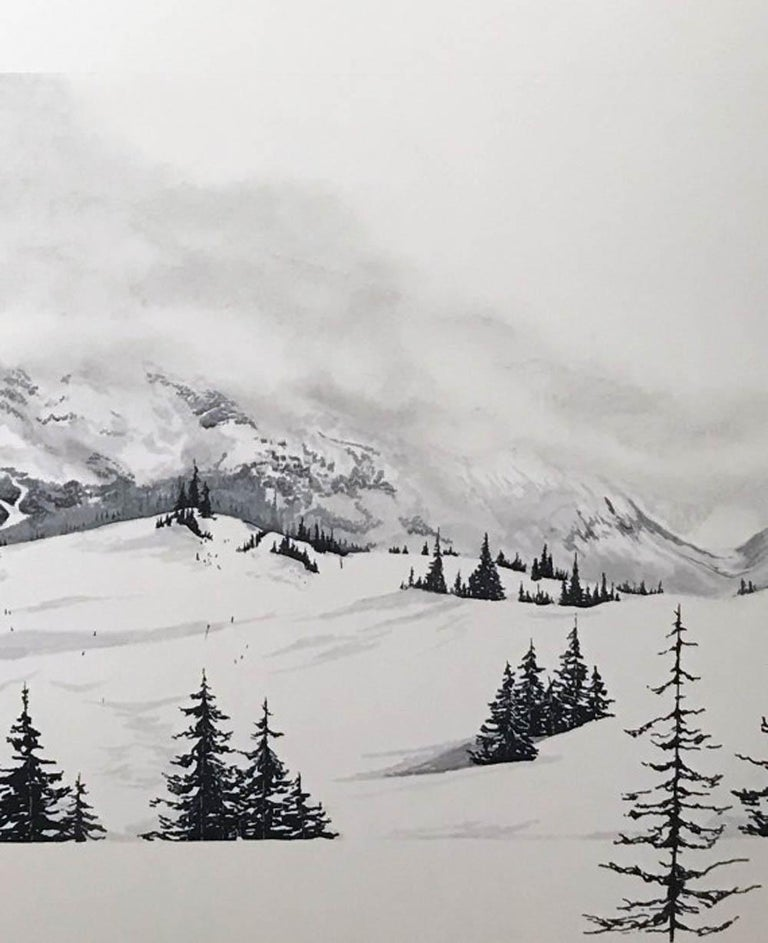 Les Arcs, France, photographic style realist art , original art for sale  - Mixed Media Art by Sam Gare
