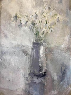 Jemma Powell, Little Pot of Snowdrops, Expressive Art, Still life, Flower Painti