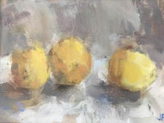 Jemma Powell- Three Lemons, Oil on Board, Still life, Fruit, Expressive Painting