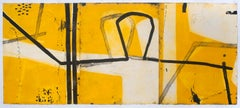 Figure on Sand, Graham Fransella, Limited Edition Etching, Abstract, Yellow