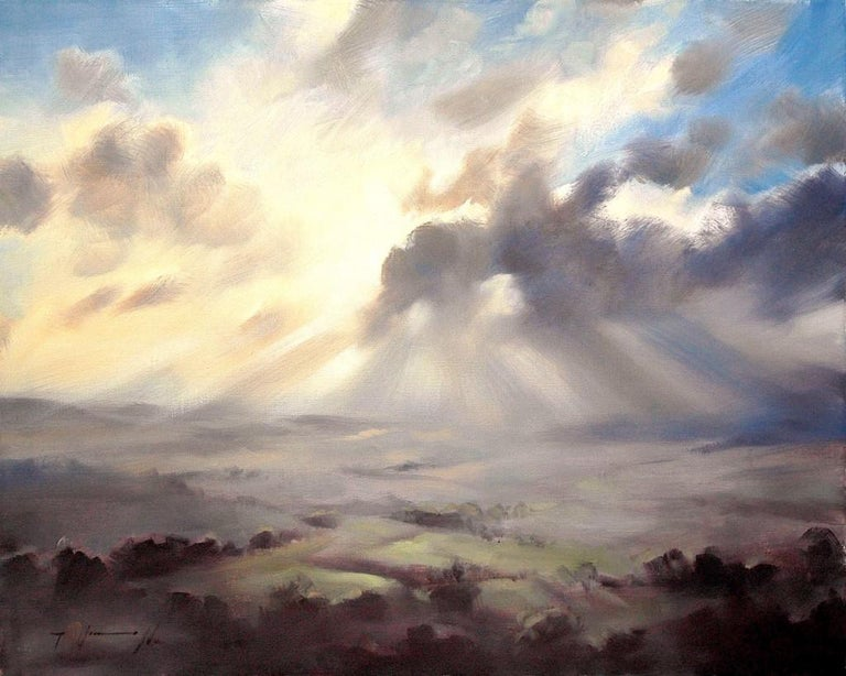 A Wiltshire Sky, Trevor Waugh, Paintings of Wiltshire, Original Oil Paintings - Gray Landscape Painting by Trevor Waugh