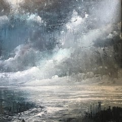 Darkness at the Coast contemporary seascape painting with grey , blue and white