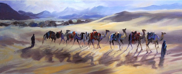 Camels Contre Jour Trevor Waugh Oil on canvas Unframed Long panoramic painting of camels in the desert Orientalism Animals