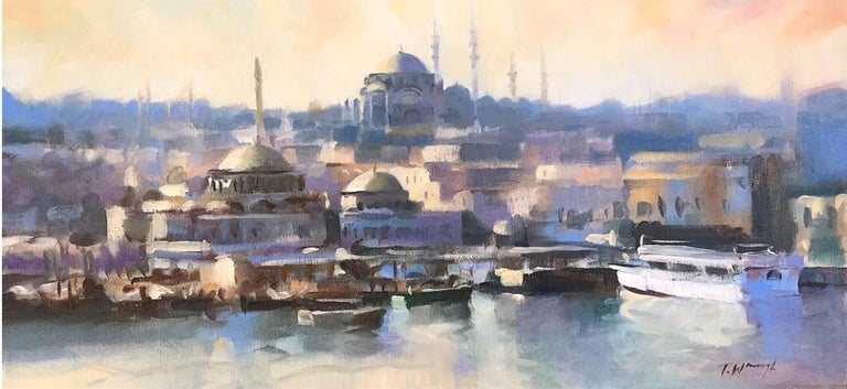 Istanbul Impression Trevor Waugh Oil on canvas Panoramic view Unframed Coastal Scenes Landscape Paintings Orientalis