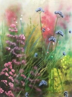 Island Garden Border III, realist contemporary flower painting for sale