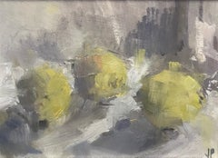 Three Lemons I, Original Oil Painting by Jemma Powell, contemporary art for sale