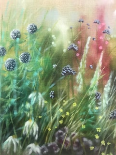Island Garden Border I, Flower Painting on Board by Dylan Lloyd for Sale
