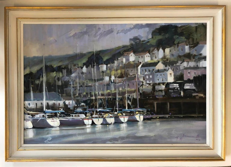 Dartmouth Harbour, Trevor Waugh Original Oil Painting  Size Unframed: H 50cm x W 70cm Price if Sold Unframed: £800  Size Framed: H 60cm x W 85cm Price if Sold Framed: £1000  Dartmouth Harbour is an original contemporary oil painting. This harbour