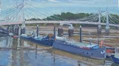 Albert Bridge London and Blue Sky BY LESLEY DABSON, Original Oil Painting, City