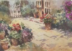 Trevor Waugh, The Old Studio, Original Framed Watercolour Painting, Floral Art