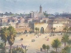 Trevor Waugh, Walls of Marrakech, Original Framed Watercolour Painting