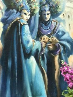 Trevor Waugh, Deeper than the Colour Blue, Venetian Carnivale Painting, Venice
