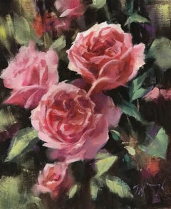 Trevor Waugh, Deep Pink, Roses, Original Oil Painting, Contemporary Floral Still