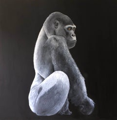 Gorilla BY ZOE LOUISE, Contemporary Painting on Board, Animal Art, Wildlife Art