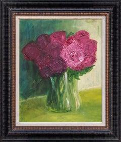 Henrietta Caledon, Pink Roses, Original Contemporary Framed Oil Painting