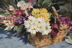 Trevor Waugh, Flower Basket, Basket of Light, Original Acrylic Painting