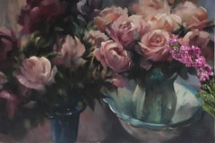 Trevor Waugh, Rose Light, Original Oil Painting, Contemporary Floral Art, Floral