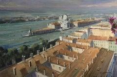 Trevor Waugh, Venetian Rooftops, Venice, Original Oil Painting, Cityscape Art