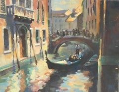 Trevor Waugh, Venetian Canal, Venice, Original Oil Painting, Travel Paintings