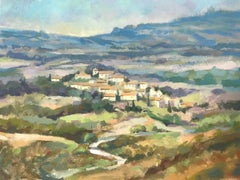 Trevor Waugh, Fanjeaux, South of France, Original Oil Painting, Travel Paintings