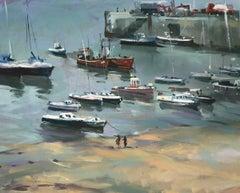 Trevor Waugh, Cornish Harbour Lights, Original Oil Painting, Contemporary Art