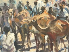 Trevor Waugh, Market in Morocco, Original Oil Painting, , Contemporary Art
