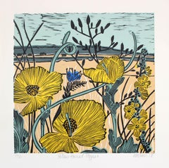 Yellow Horned Poppy, Kate Heiss, Limited Edition linocut, Poppies, Fields