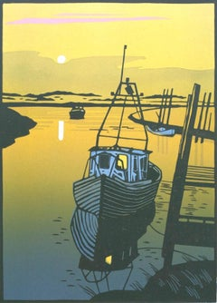 The Creek, Colin Moore, Limited Edition Linocut Print, Boating Art, Seascape