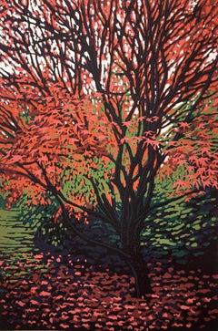 Autumn Acer BY ALEXANDRA BUCKLE, Limited Edition Linocut Landscape Print