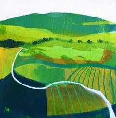 Spring fields BY ANUK NAUMANN, Original Landscape Mixed Media Painting for Sale
