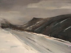 Top Road Virginia Ray. Large, affordable, atmospheric original oil and mixed med