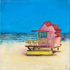 Beach Hut – Pink BY JANETTE GEORGE, Seaside Art for Sale, Affordable OriginalArt