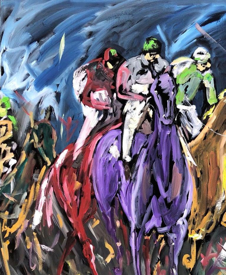 Garth Bayley, Chasing the Banker, Horse Art, Animal Art for Sale, Original Art - Black Animal Painting by Garth Bayley